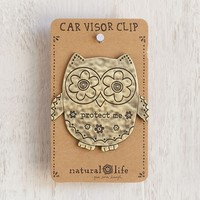 Metal  Car  Visor  Clip:  Owl  -  Protect  Me  From  Natural  Life