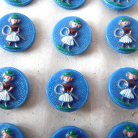 Blue Glass Painted Vintage Buttons - Girl Woman with Green Hat and White Skirt