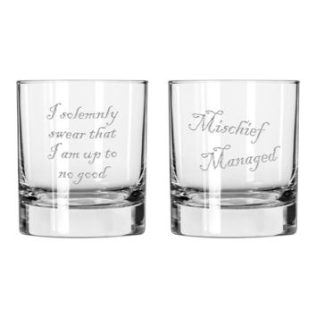 Harry Potter inspired Mischief Managed Glass Set