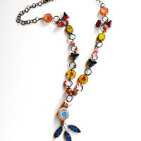 beaded necklace-long necklace-art bead-art jewelry-handmade necklace-flower necklace-blue necklace-yellow necklace-pink necklace-jewelry