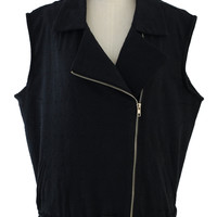 Black Biker Vest with Belt