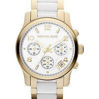 Michael Kors Watch, Women's Chronograph White Acetate and Gold-Tone Stainless Steel Bracelet 38mm MK5742 - All Watches - Jewelry & Watches - Macy's
