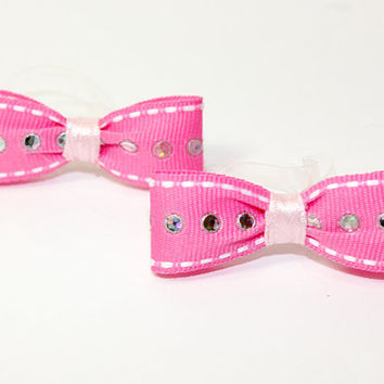 Pink Ribbon Dog Bow. Gros Grain Hot Pink Puppy Bow with Shiney Circle Accents. Light Pink Ribbon and Clear Hair Elastics for Ears or Knot
