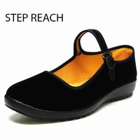 STEPREACH Woman  Mary Jane shoes flat Black canvas comfortable spring autumn suede Buckle Strap women  Round Toe Solid Casual Sh