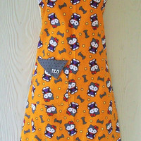 Halloween Apron made from Hello Kitty fabric, Retro Style, Halloween Full Apron, KitschNStyle