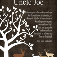 Custom Uncle Gift- Rustic Deer Gift - Gift from Bride and Groom on Wedding Day - Wedding Thank You Gift - Birthday Gift,CANVAS or Prints