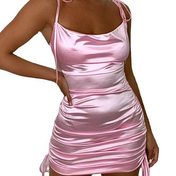 New hot sale satin sexy open back A-line skirt pleated pleated lace suspender dress