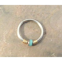 Turquoise and Gold Cartilage Hoop Earring Septum Tragus Nose Ring Upper Ear Piercing 20 Gauge