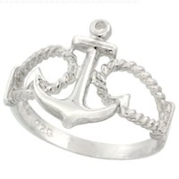 Sterling Silver Anchor Ring 9/16 inch (14 mm) long, size 7