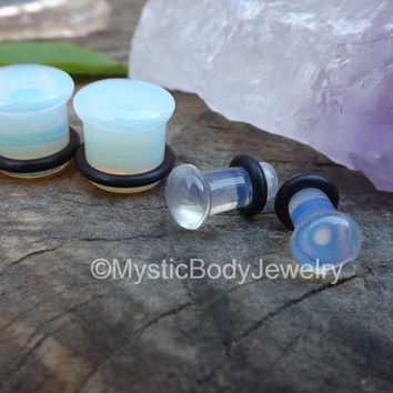 Clear Ear Plugs Opalite Transparent Plug Stone 4g Single Flair Strecthed Pair Earlobe 2g Earrings 0g Stretcher Piercing 00g Body Jewelry Set