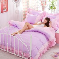 Purple Lace Korean bedding set bedspread beautiful princess style girls solid queen king size Good quality bed sheet duvet cover