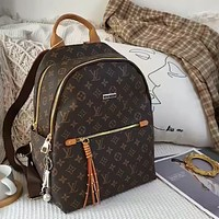 LV Full Print Classic Presby Canvas Men and Women Large Capacity Backpack Bag