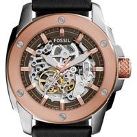 Women's Fossil 'Modern Machine' Skeleton Dial Leather Strap Watch, 50mm - Black/ Rose Gold
