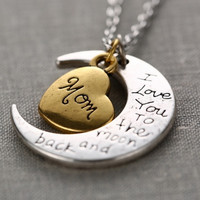 Fashion Letters Necklace Mother Mom Gift Silver Gold Engraved Letter Pendants Statement Choker Necklace (Color: Gold) = 1946984580