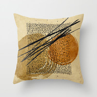abstract composition Braque colors Throw Pillow by Ioana Luscov