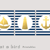 Nautical decor set of 3, nautical nursery, navy blue striped wall decor, faux gold foil nursery decor, gold nautical art -INSTANT DOWNLOAD