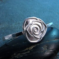 Sterling Silver Single Rose Cuff Bracelet with Hammered Band - Size Small - Modern Romance Collection
