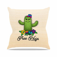 "Noonday Design ""Free Hugs Cactus"" Green Pastel Outdoor Throw Pillow"