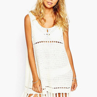 White Sleeveless Bottom Tassel Knitted Cover-up