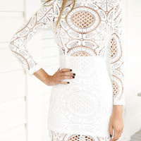 White Long Sleeve Hollow Lace Dress