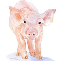 Watercolor Pig Note Cards Set of 6 - Farm Animals Greeting Cards - Piglet - Baby Animal