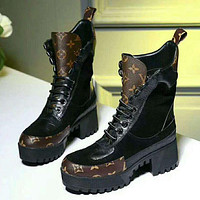 LV LOUIS VUITTON Women's Hipster High Quality Waterproof Martin Boots shoes