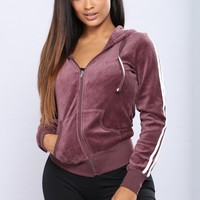 Easy Fit Velour Jacket - Vintage Violet