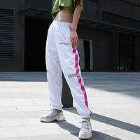 Women Casual Fashion Multicolor Stripe High Waist Leisure Pants Trousers Sweatpants