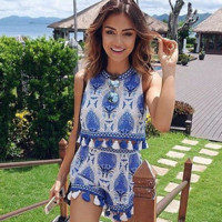 Blue and white porcelain tassel shorts lace hollow out  two-piece outfit