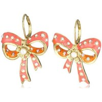 """Betsey Johnson """"Farmhouse"""" Bow Drop Earrings - designer shoes, handbags, jewelry, watches, and fashion accessories   endless.com"""
