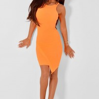 Bonsallo Neon Orange Asymmetric Hem Dress | Pink Boutique