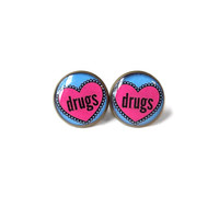 Drugs Conversation Heart Stud Earrings - Green Marijuana Pastel Goth Pop Culture Jewelry