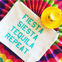 Fiesta Siesta Tequila Repeat Canvas Pouch