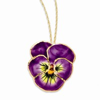 Lacquer Dipped Lilac Pansy Necklace w/ Gold-tone Chain