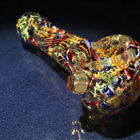 "Clear Multicolor Candy Crush Hand Blown Glass Smoking Pipe Spoon Style Bowl Glass Pipe 3.5"" 140"