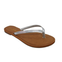 INSANITY CLOSEOUT! Forever Faithful Classic Strap Silver Flip Flops, Sandals