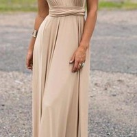Women's Taupe/Beige Amazing Convertible Wear How You Want Maxi Dress