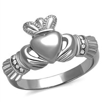Irish Claddagh Heart Crystal Stainless Steel Ring