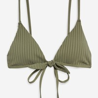 Rib Tie Triangle Bikini Top - Swim Shop - New In