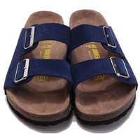 Birkenstock Leather Cork Flats Shoes Women Men Casual Sandals Shoes Soft Footbed Slippers