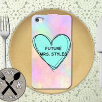 Future Mrs. Styles Pastel Pink Tumblr Candy Heart Cute 1D Custom Rubber Tough Phone Case For The iPhone 4 and 4s and iPhone 5 and 5s and 5c