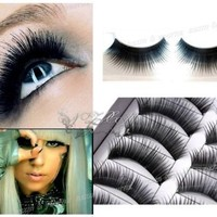 High Quality Make Up Set of 10 Pairs Black Classic Pin Up False Eyelashes / Fake Eye Lashes Set By VAGA