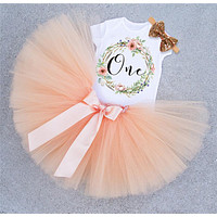 1 Year Baby Girl Birthday Dress Toddler Clothes First 1st Birthday Outfits Christening tutu Dresses for Girls vestidos infantil