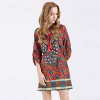 2016 Summer Bohemian Women Print Dress