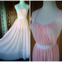 Vintage 50s Grecian Goddess Crystal Pleated Gown Lingerie Rogers Ice Peach Embroidery Ribbon Sheer Nightgown 34 to 36 Bust