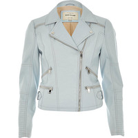 River Island Womens Blue leather-look zip biker jacket