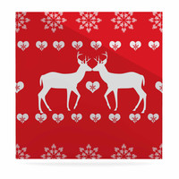"""Suzanne Carter """"Christmas Deer 2"""" Holiday Pattern Luxe Square Panel"""