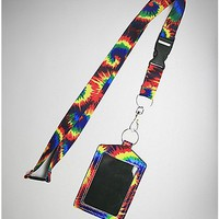 Tie Dye Badge ID Holder and Lanyard - Spencer's