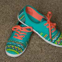 Hand painted shoes aztec plimsolls colorful by BohemianHandicraft
