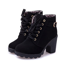 womens winter High Quality Solid Lace-up ankle boots
